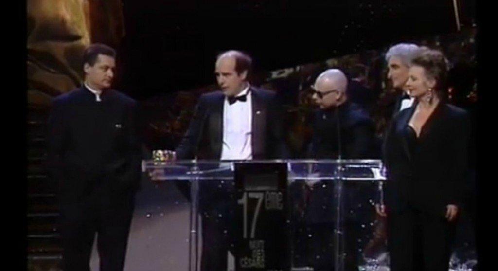 Gilles Adrien au centre, avec Caro et Jeunet, César du meilleur scénario 1992 pour Delicatessen